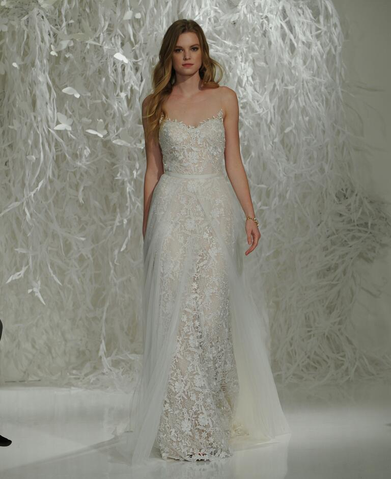 Watters fall 2016 collection wedding dress photos for Wedding dress with overskirt