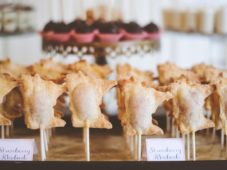 mini pies on a stick wedding dessert