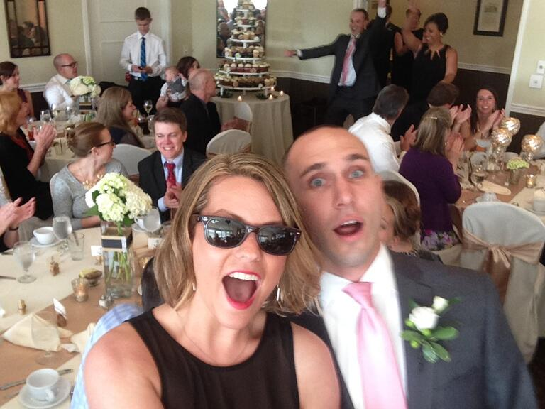 Bridesmaid and groomsmen reception entrance with selfie stick