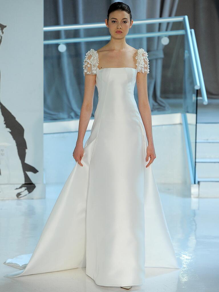 Peter Langner Spring 2018 floral cap-sleeved column wedding dress