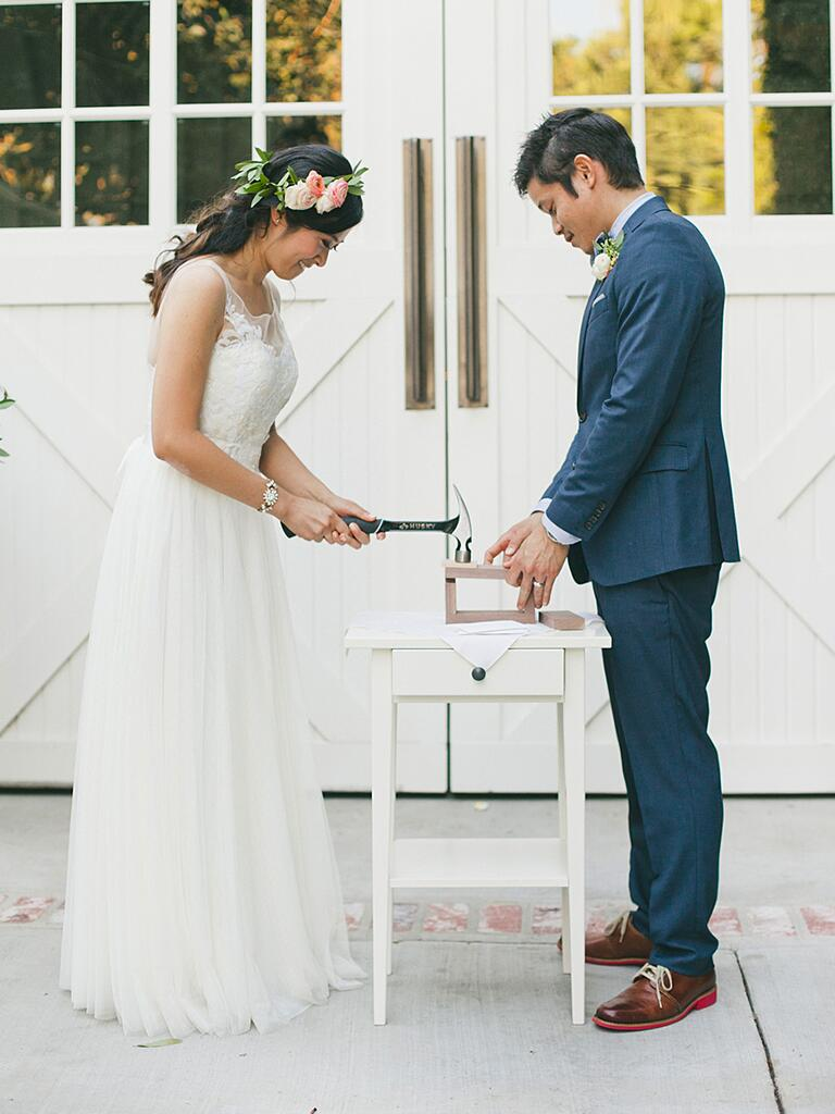 Boxing away love letters as a cute unity ceremony idea