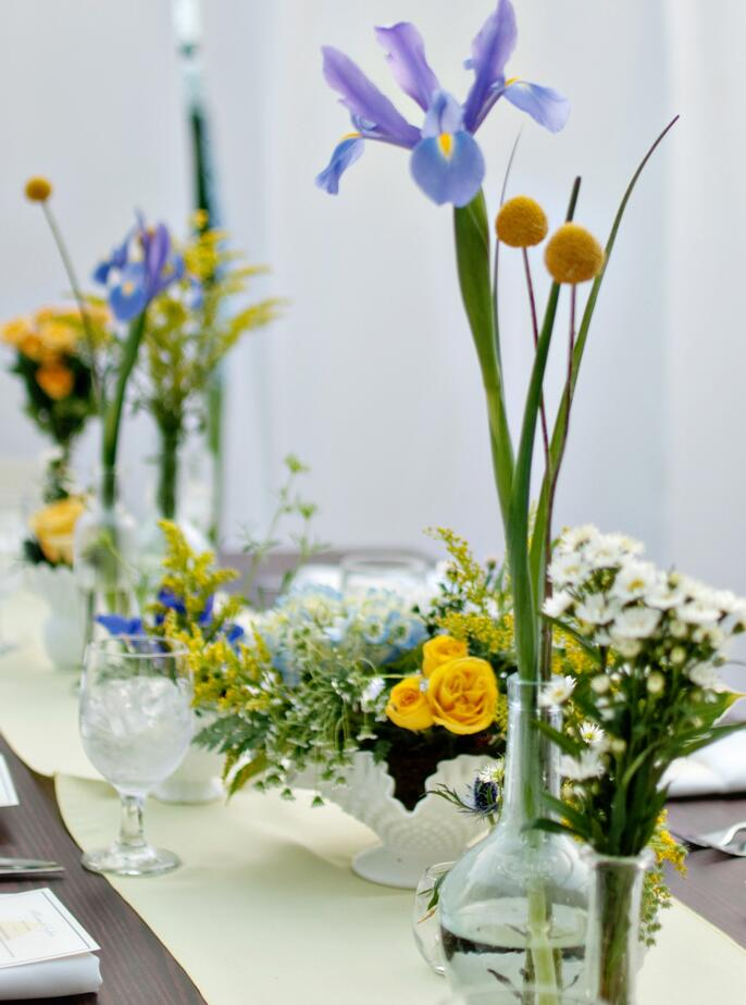 Tall iris reception table centerpiece