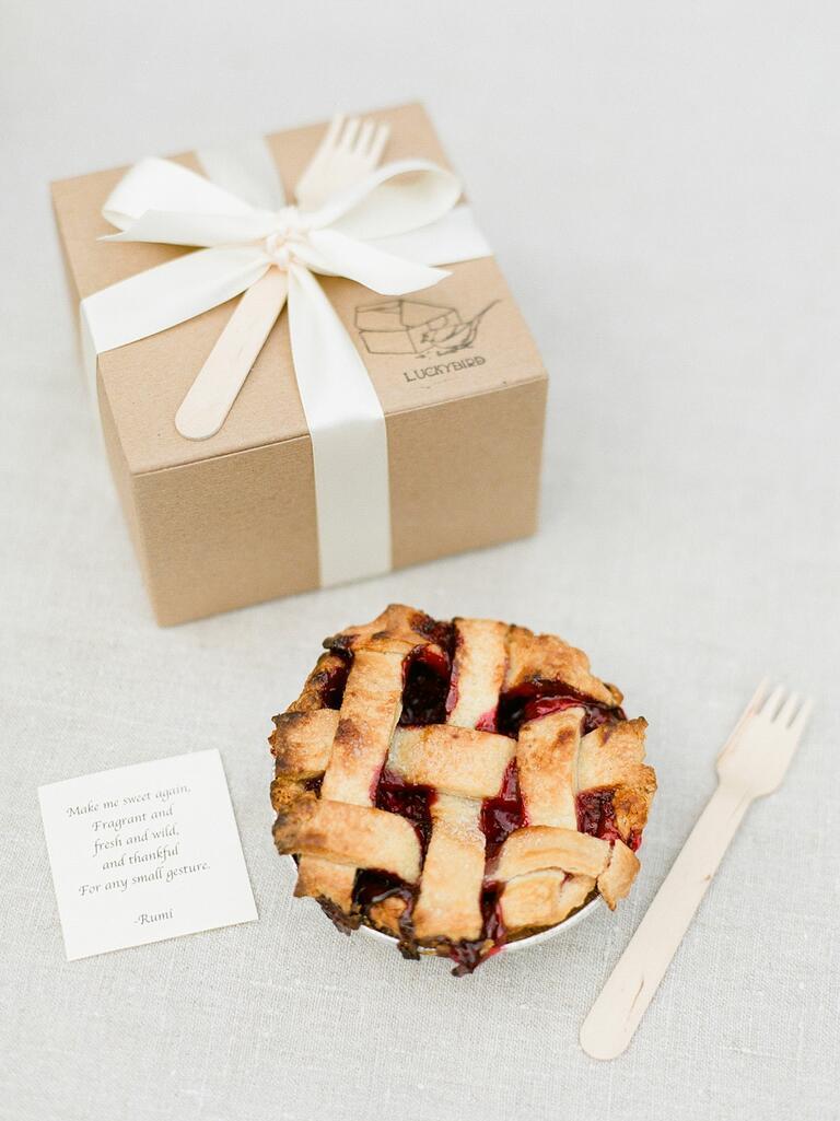 Miniature pie wedding guest favors