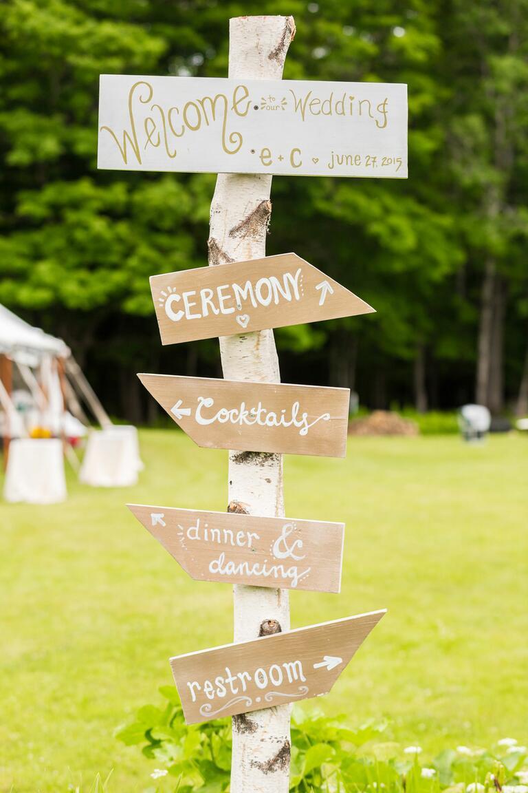 Rustic wedding schedule sign