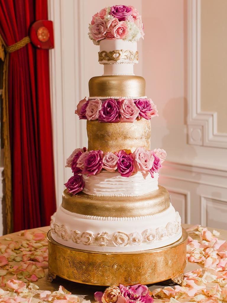 Blush and gold wedding cake idea