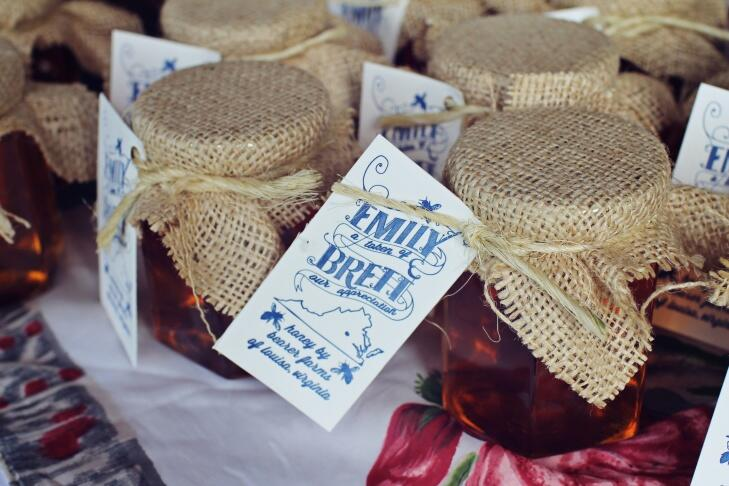 Local honey wedding favors with burlap packaging