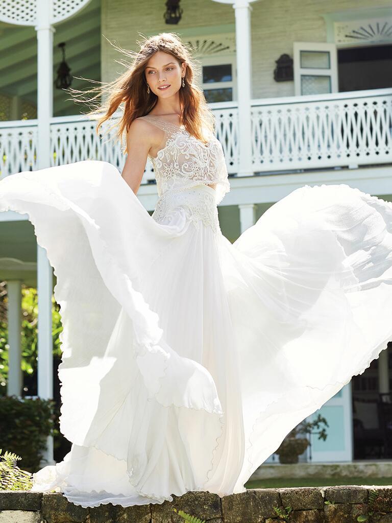 Two-piece crop top wedding dress by Anya Fleet