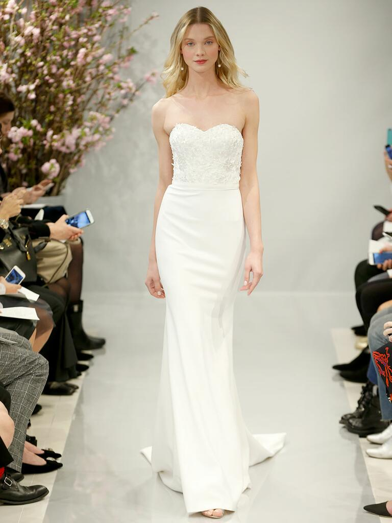 Theia Spring 2018 pearl white 3-d flowers and crystal embroidered strapless bodice over mermaid crepe skirt