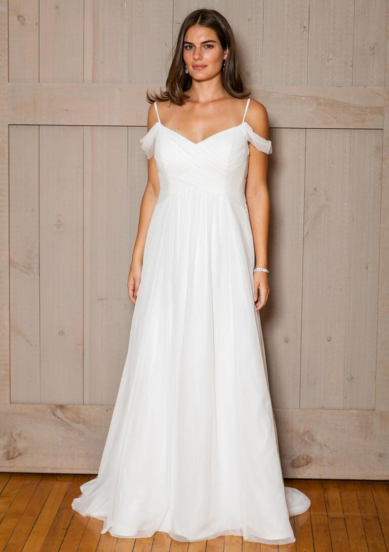 David's Bridal Fall 2016 off-the-shoulder chiffon wedding dress