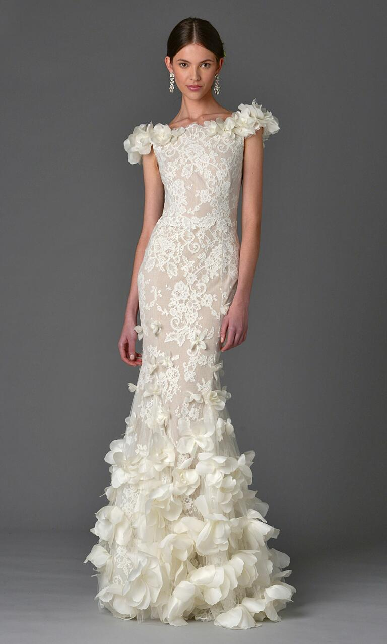 Marchesa Spring 2017 boat neck sheath wedding dress with lace embroidery and large 3-D floral appliqué