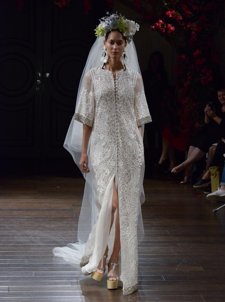 Naeem Khan Fall 2016 embroidered caftan wedding dress with jeweled cuff and hem