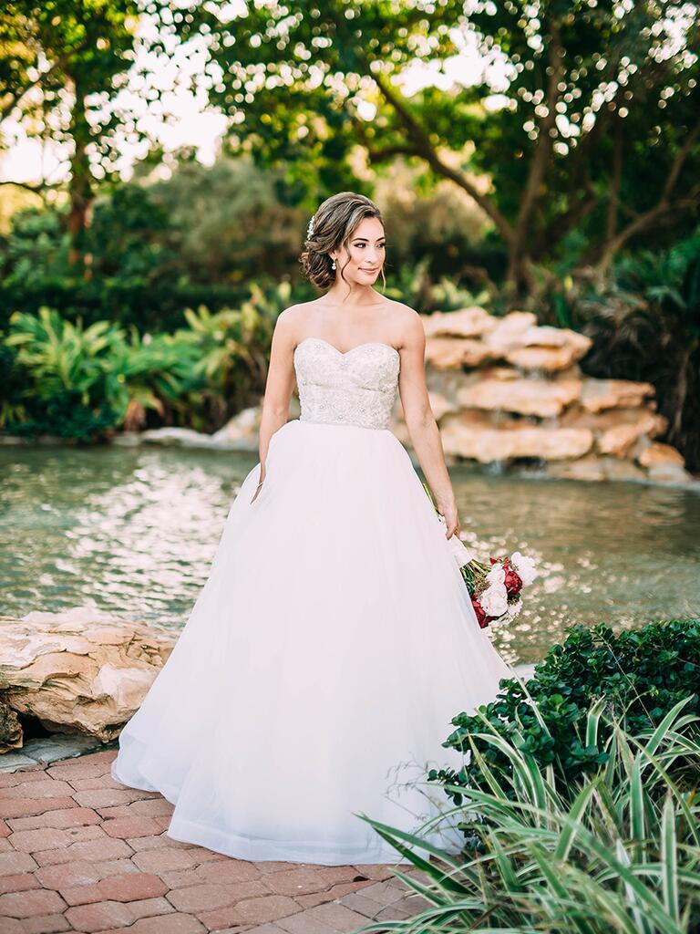 bride in strapless sweetheart dress