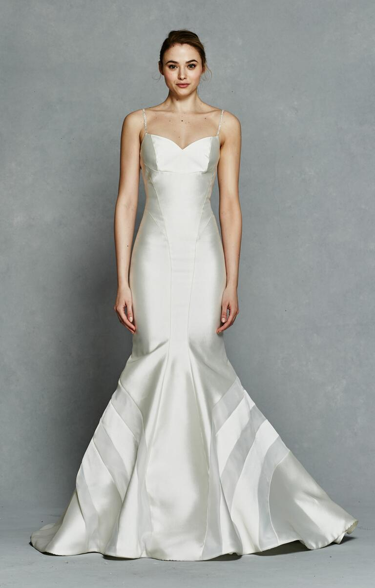 Kelly Faetanini Spring 2017 satin trumpet-style wedding dress with embellished spaghetti straps