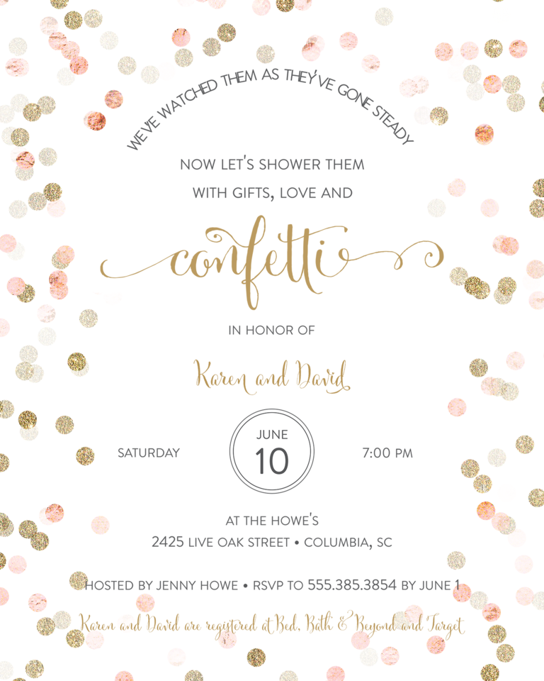 Vine Wedding Shower Invitation Wording