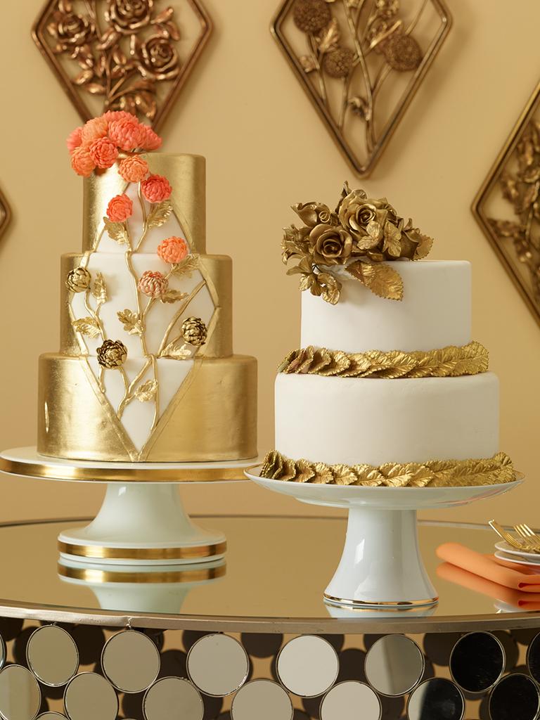 Glamorous metallic wedding cakes with sugar flowers
