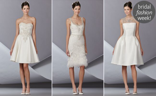 Carolina herrera fall 2014 wedding dresses short and sweet and dainty detailing in the way of bows flowers lace and feathers is what carolina herrera spring 14 bridal is all about junglespirit Choice Image