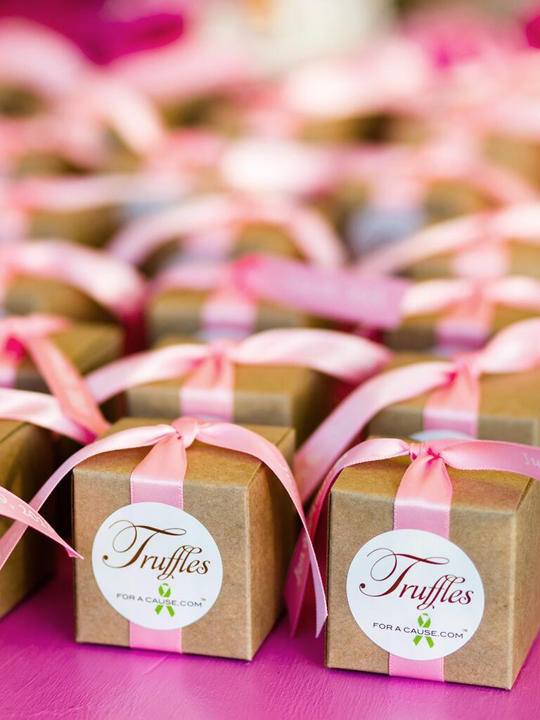 Truffles for a cause wedding favor idea