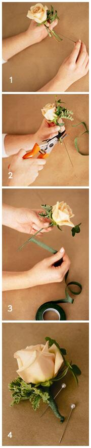 Diy wedding flowers homemade boutonnieres you can make a boutonniere the day before the wedding and be sure to get extra flowers for practice heres a step by step guide on do it yourself solutioingenieria Image collections