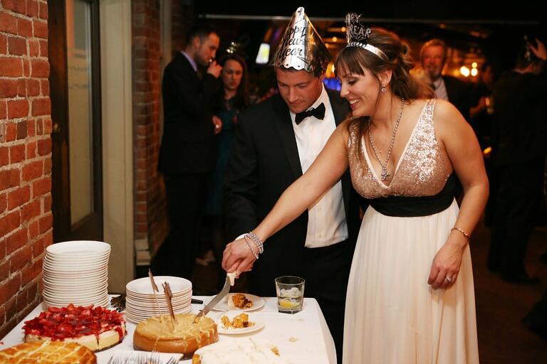 New Year's Eve Wedding Cake Cutting