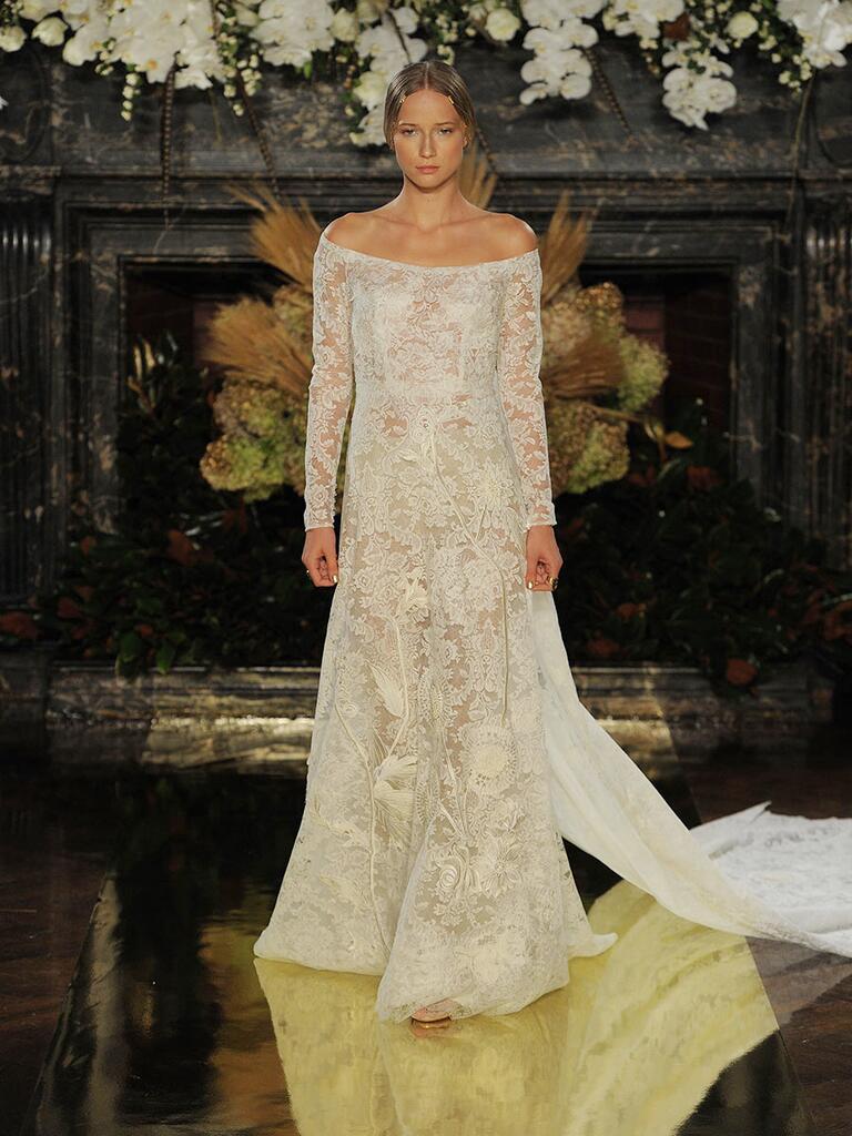 Yolancris Long Sleeve Wedding Dress : Yolan cris fall off the shoulder long sleeve wedding dress with