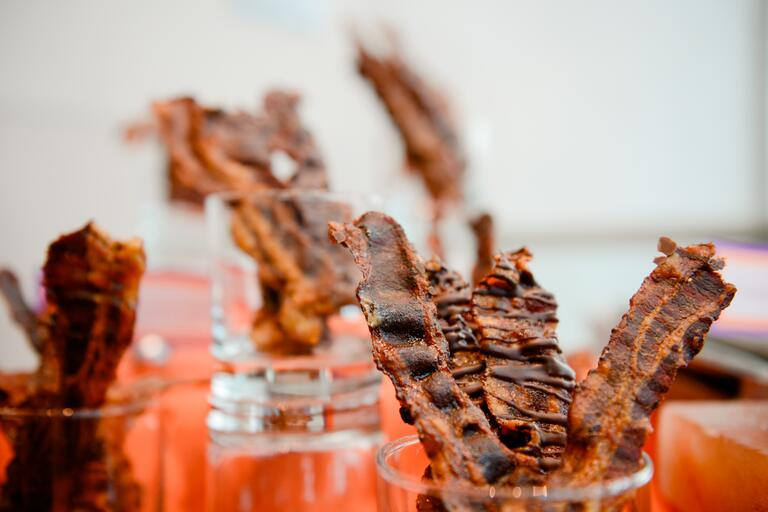 Chocolate-drizzled bacon