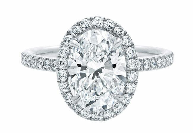 Oval Micropave Diamond Engagement Ring