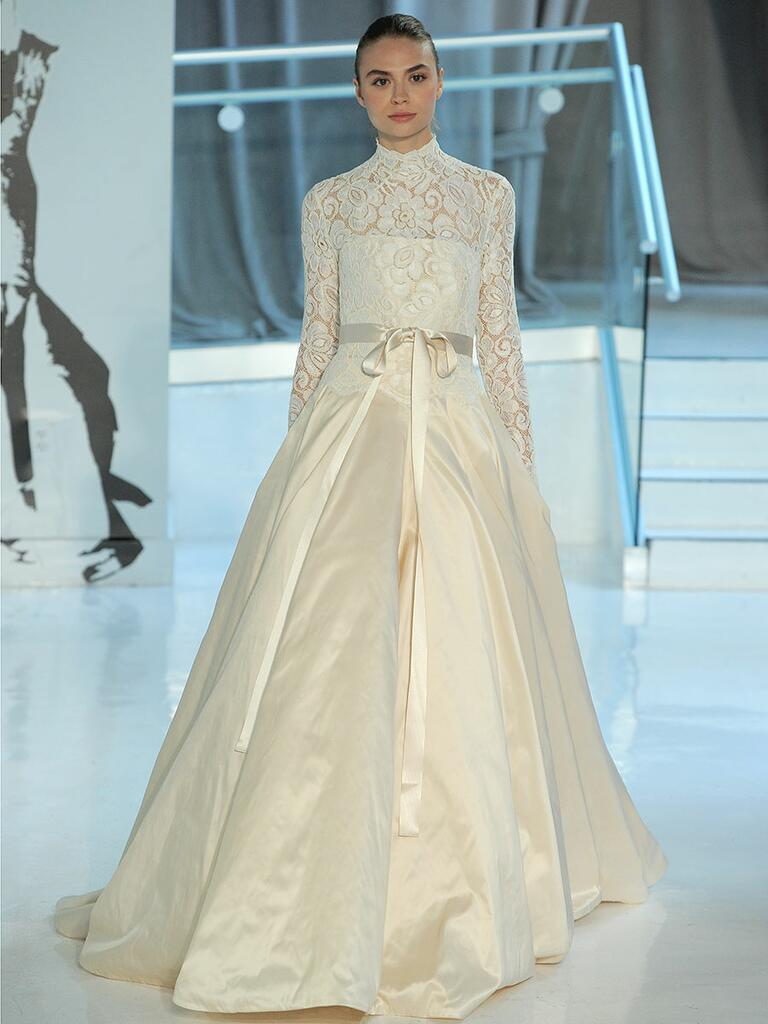 Peter Langner Spring 2018 high-necked ball gown with lace neckline