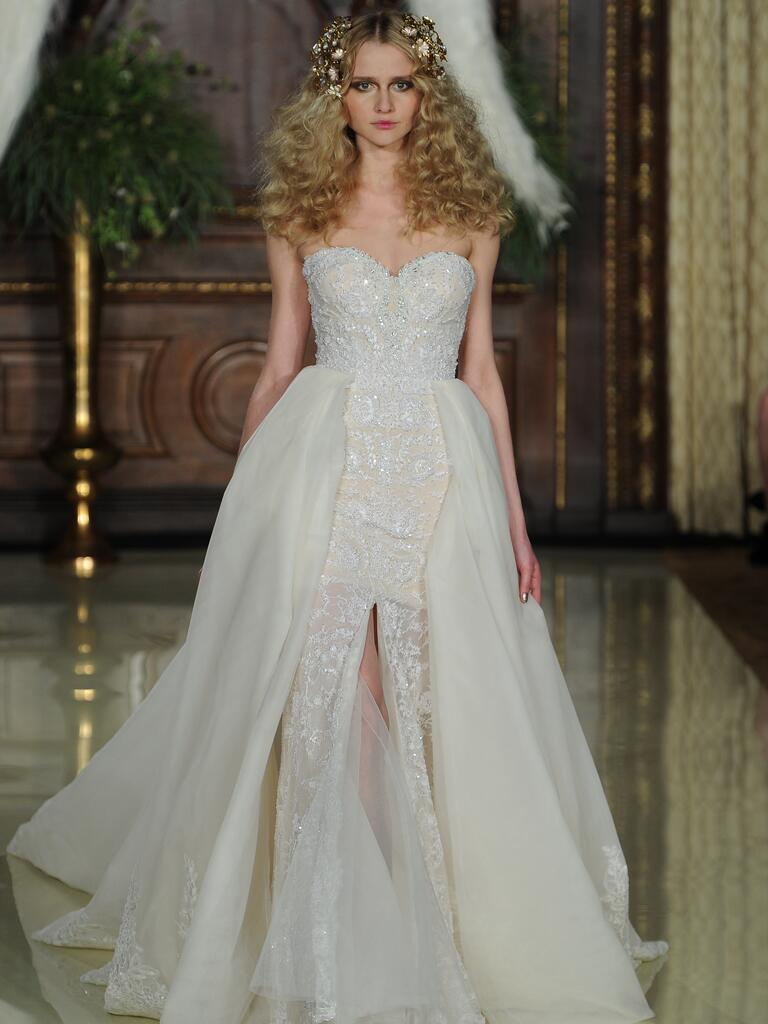 Galia Lahav neutral and ivory sweetheart neckline wedding dress with high slits from Spring 2016