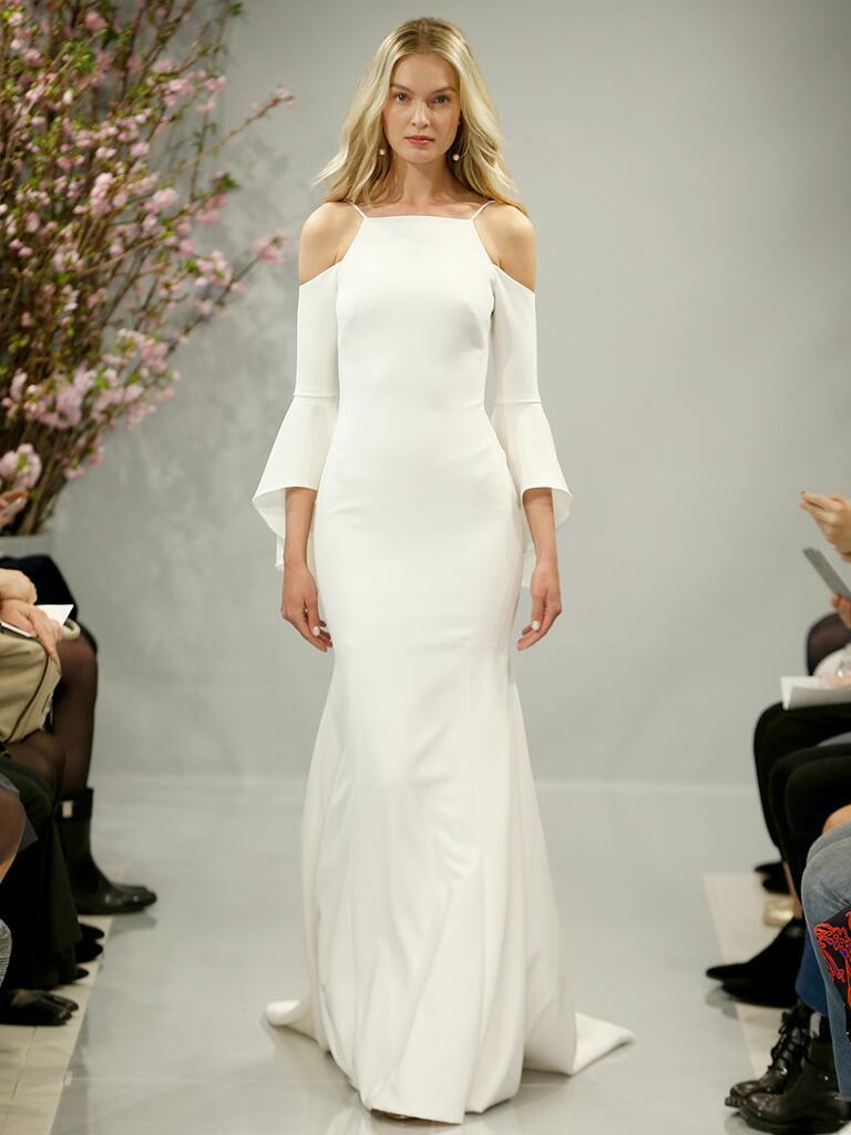 Theia Spring 2018 alabaster crepe wedding dress with cold shoulder bell sleeves