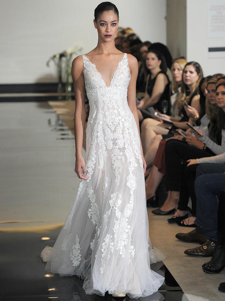 Justin Alexander Spring 2018 illusion and plunging V-neck A-line wedding dress