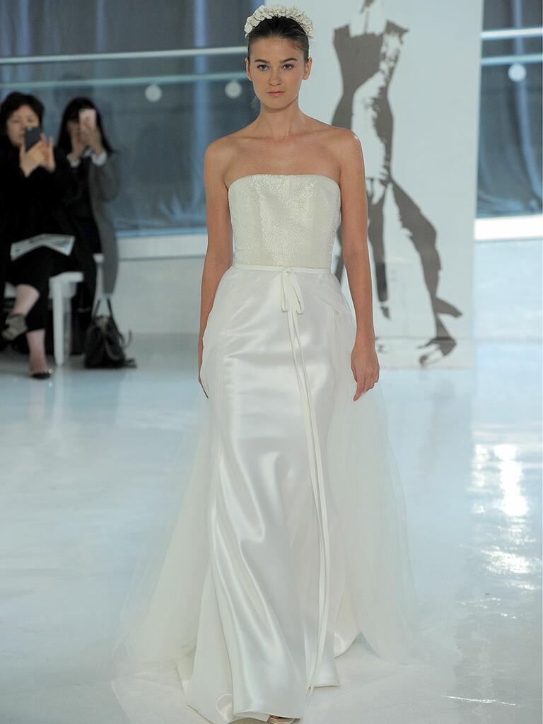 Peter Langner Spring 2018 strapless A-line wedding dress with shimmering bodice