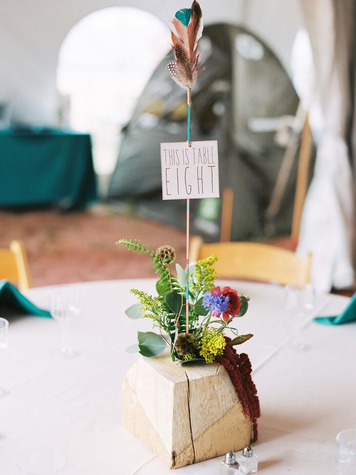 DIY teal and gold feather table number
