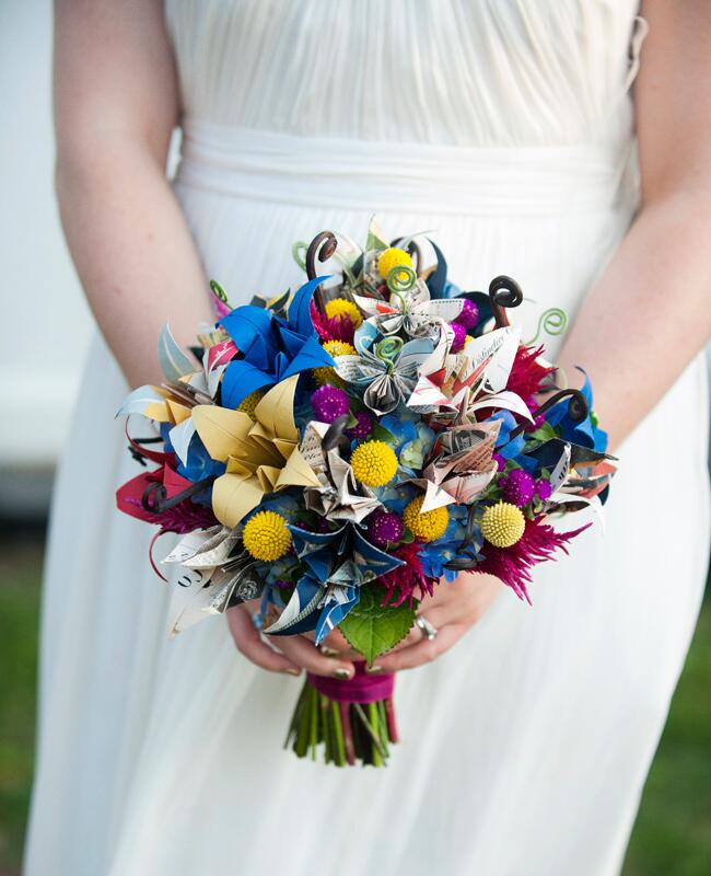 Something Blue Origami Paper Bridal Bouquet |<img class=