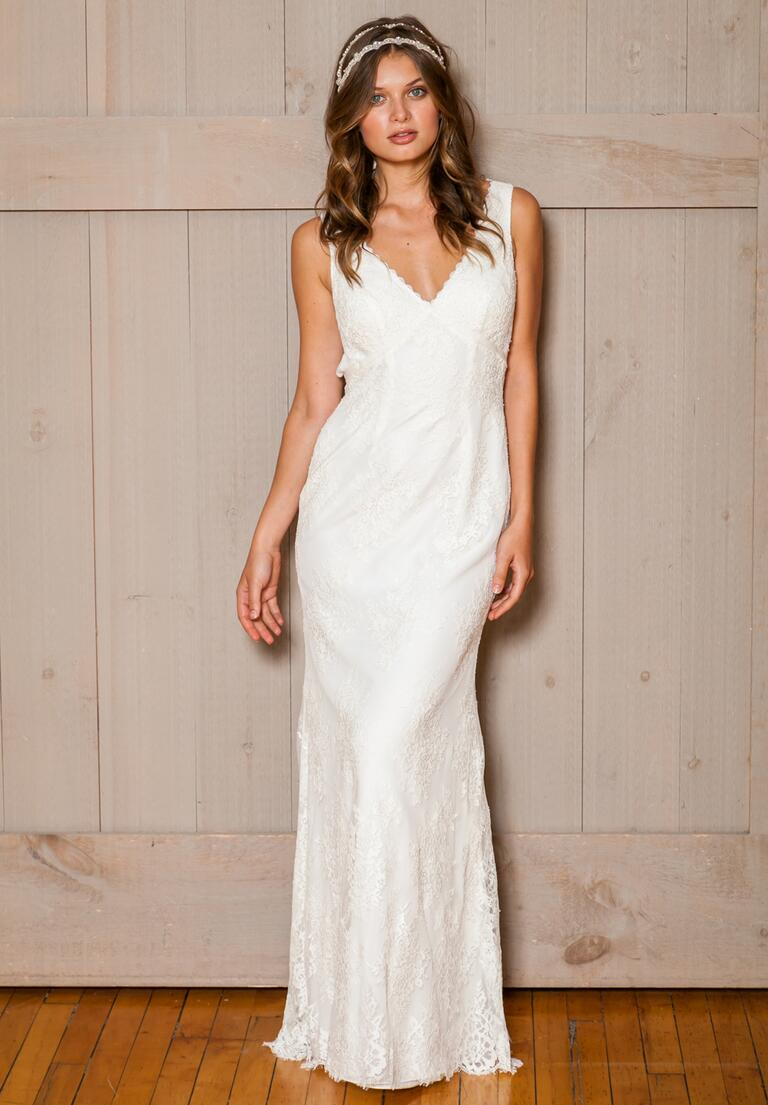 David's Bridal Fall 2016 v-neck lace overlay wedding dress