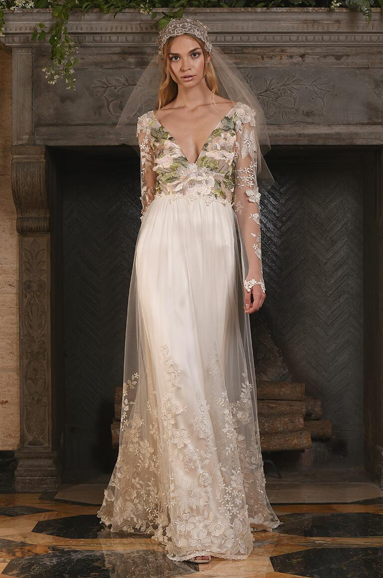 Claire Pettibone floral inspired wedding gown with lace overlay and plunging neckline for Fall 2017
