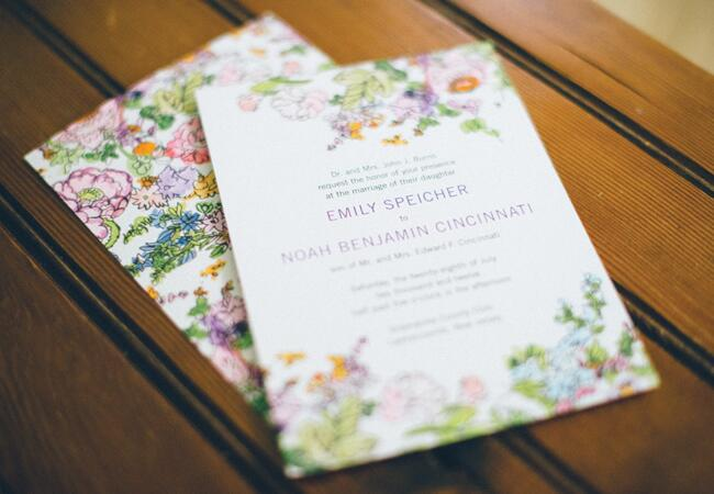 Dense Watercolor Flower Invitations | Paul Francis Photography | blog.TheKnot.com