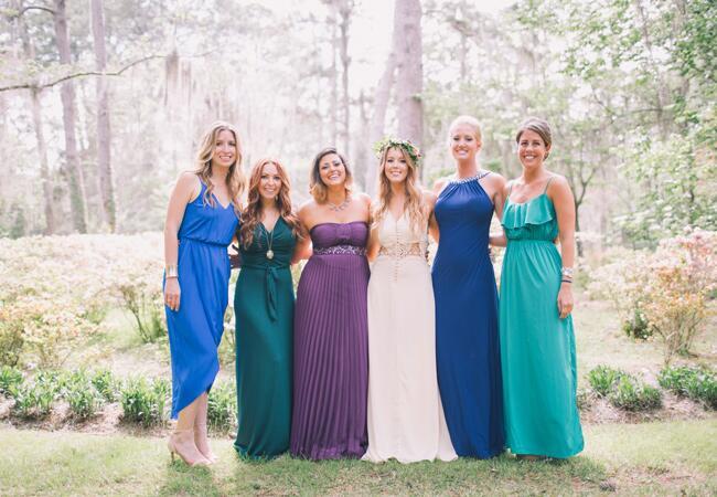 Jewel Tone Mismatched Bridesmaid Dresses |<img class=