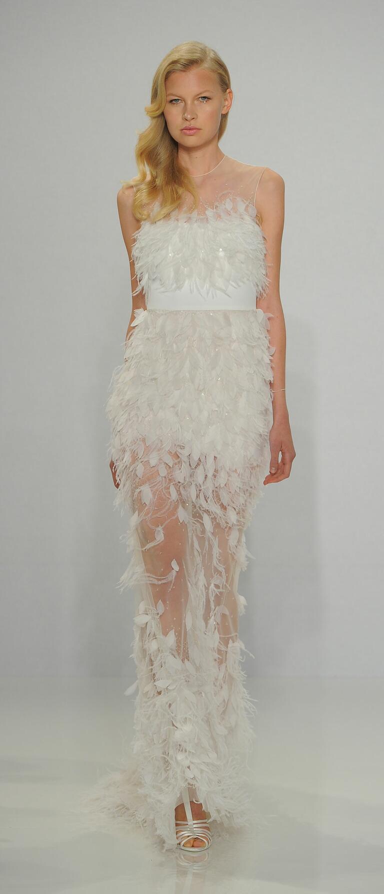 Christian Siriano Spring 2017 feather appliqué column gown wedding dress