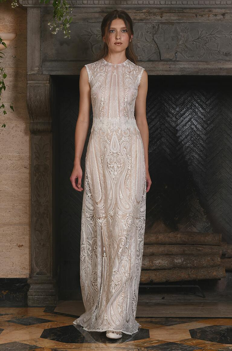 Claire Pettibone sheer sleeveless wedding gown for Fall 2017