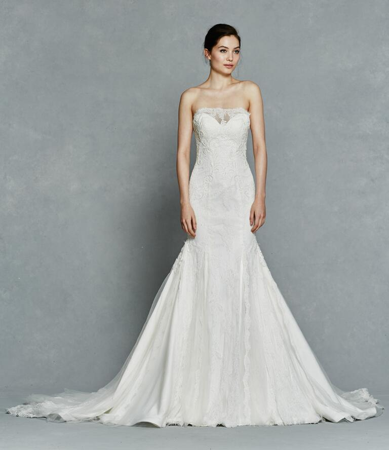 Kelly Faetanini Spring 2017 strapless lace wedding dress with sweetheart neckline