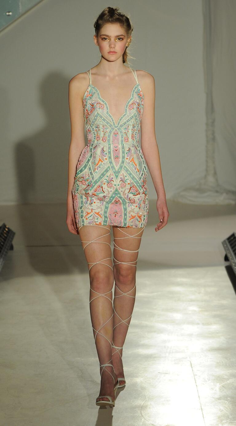 Hayley Paige spring 2017 micro mini cocktail dress with Moroccan-inspired embroidery and geometric back strap detail