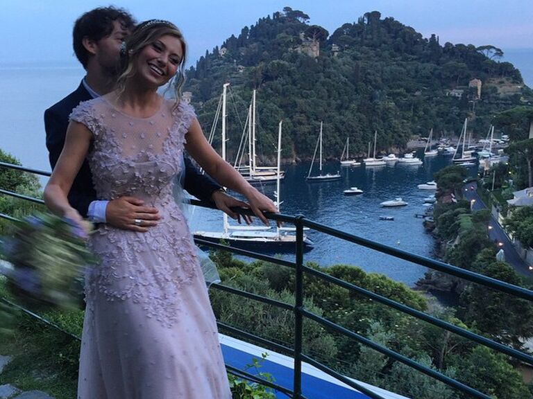 Aly Michalka\'s Romantic Lavender Wedding Dress Was Perfection