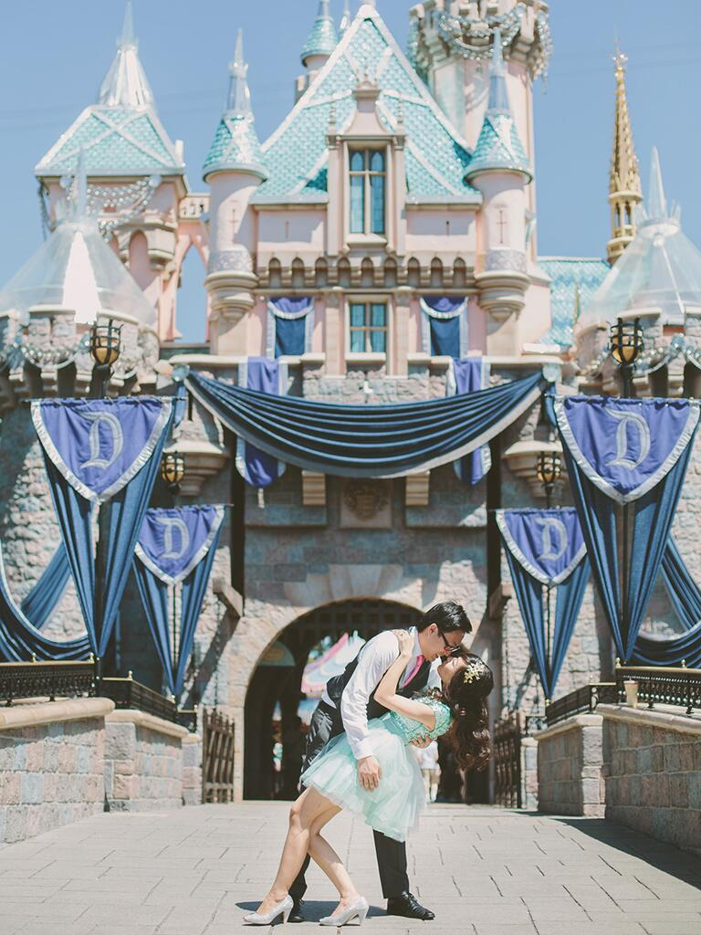 Romantic proposal location in front of Cinderella's Castle