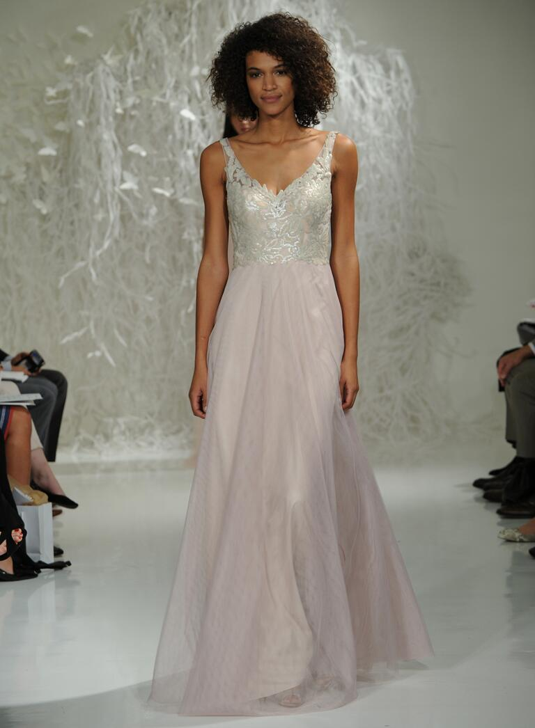 watters wedding dresses bridal fashion week fall blush tulle wedding dress Watters Fall silver and blush wedding dress with sparkly lace bodice and flowing tulle skirt