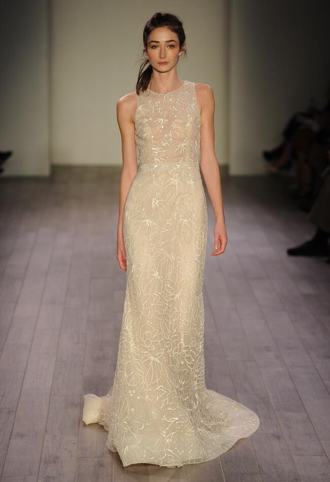 Lazaro Spring 2016 cream sleeveless organza overlay wedding dress