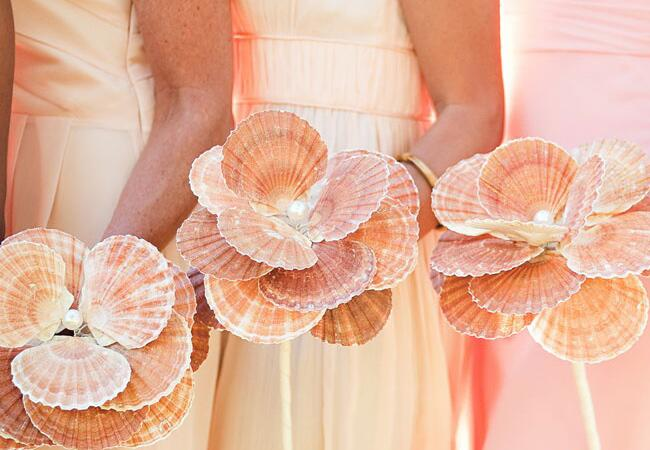Flower Bouquet Alternatives // Seashell Bouquets // The Knot Blog