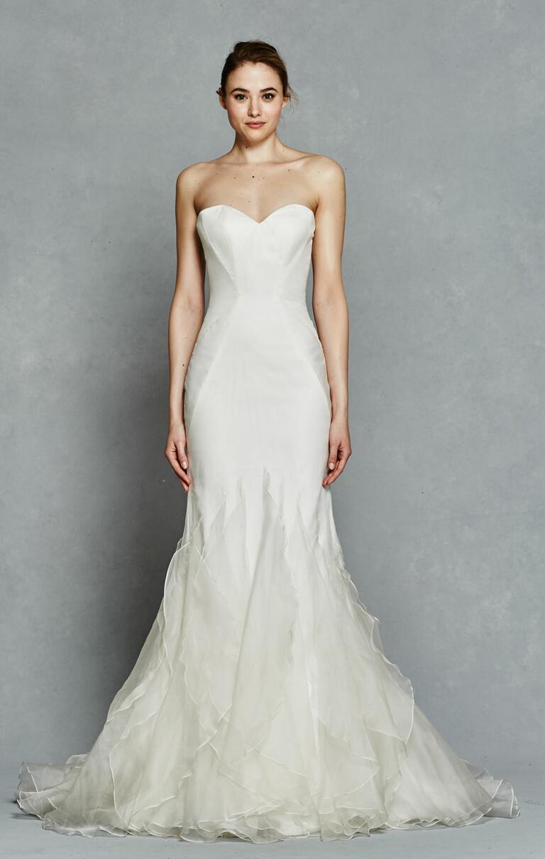 Kelly Faetanini Spring 2017 strapless trumpet-style wedding dress with layered edge