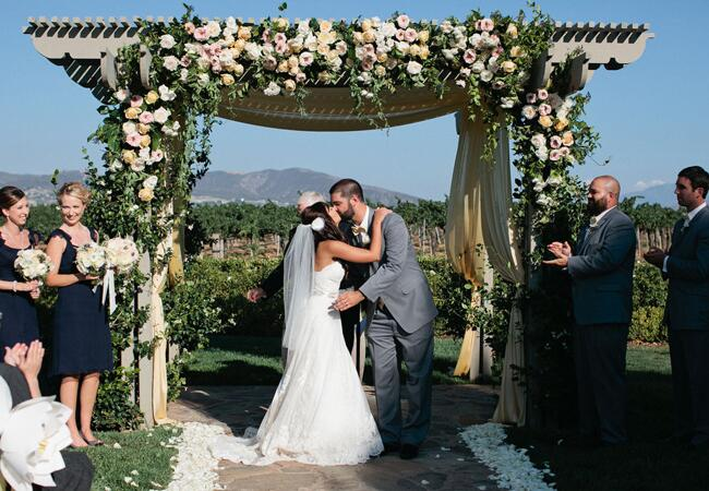 First Kiss // John & Joseph Photography // Planner: Details Details // Location: Ponte Winery