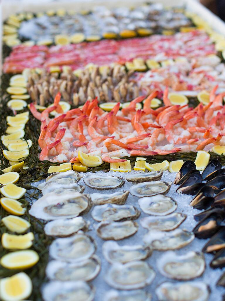 Wedding reception seafood station idea