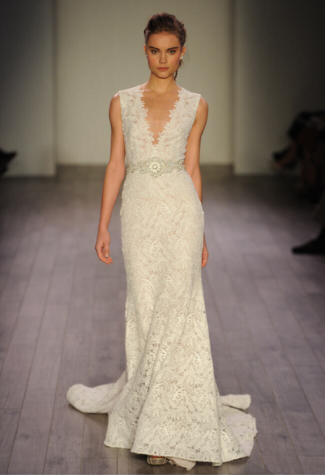 Lazaro Spring 2016 organza lace V-neckline wedding dress